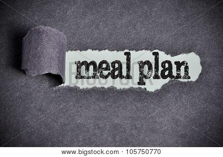 Meal Plan Word Under Torn Black Sugar Paper