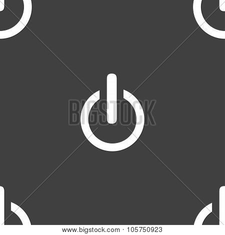 Power Sign Icon. Switch Symbol. Seamless Pattern On A Gray Background. Vector