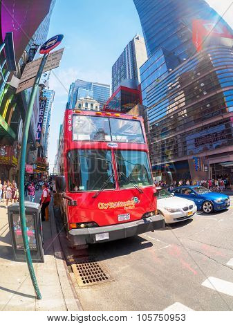 NEW YORK,USA - AUGUST 14,2015 : City sightseeing double decker bus at 42nd street in New York City