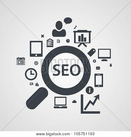 SEO icons Set, search engine optimization