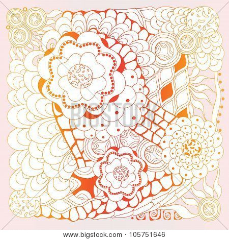 Stock Vector Floral  Doodle Pattern.