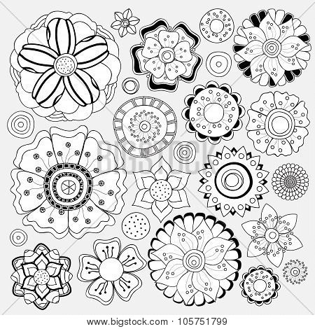Stock Vector Floral Black And White Doodle Pattern.isolated Flower