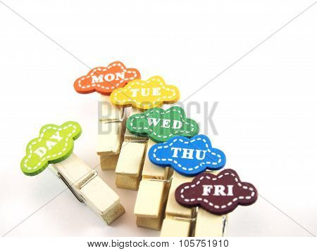 Colorful Wooden Paper Clips, Designed Tags As Business Day