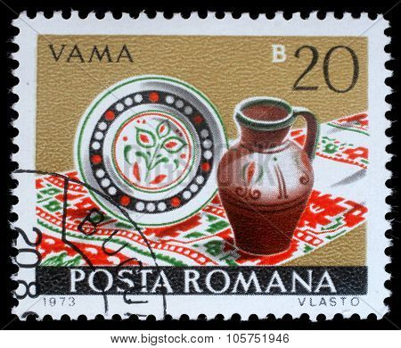 ROMANIA - CIRCA 1973: a stamp printed in Romania shows Vama from the series Romanian pottery, circa 1973.