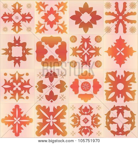 Seamless Orange Pattern Majolica, Arabic, Indian, Armenia. Stock Vector Illustration