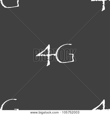 4G Sign Icon. Mobile Telecommunications Technology Symbol. Seamless Pattern On A Gray Background. Ve