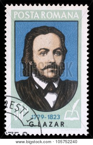 ROMANIA - CIRCA 1973: a stamp printed in Romania shows Gheorghe Lazar (1779-1823) Transylvanian-born Romanian scholar, the founder of the first Romanian language school, circa 1973.
