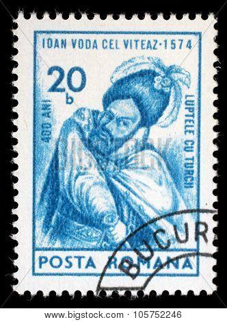 ROMANIA - CIRCA 1974: a stamp printed in Romania shows Ioan, Prince of Wallachia, circa 1974.