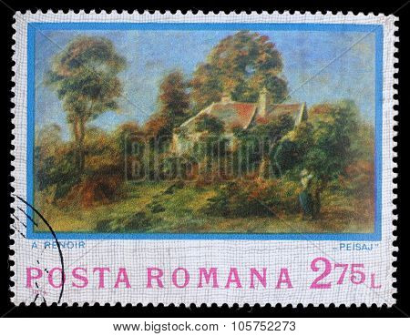 ROMANIA - CIRCA 1974: A stamp printed by Romania, shows picture Landscape by Auguste Renoir, circa 1974