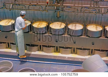 Cheese-maker Concentrated On The Process Of Production Of Gruyere Cheese