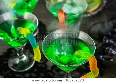 Fresh non-alcoholic cocktails prepared for Halloween party.