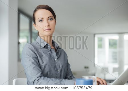 Professional Businesswoman Working On A Computer
