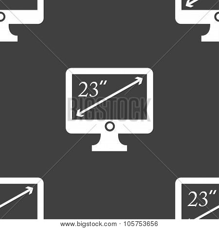 Diagonal Of The Monitor 23 Inches Icon Sign. Seamless Pattern On A Gray Background. Vector