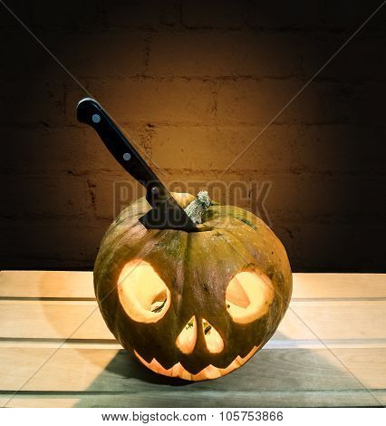 The Knife In The Pumpkin Head For Halloween