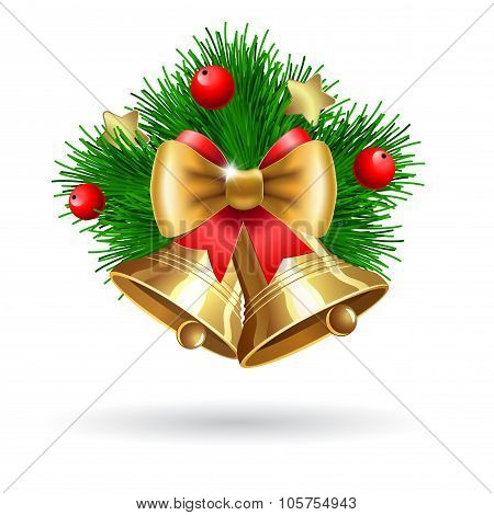 Jingle Bells With  Bow And Fir Tree Branches