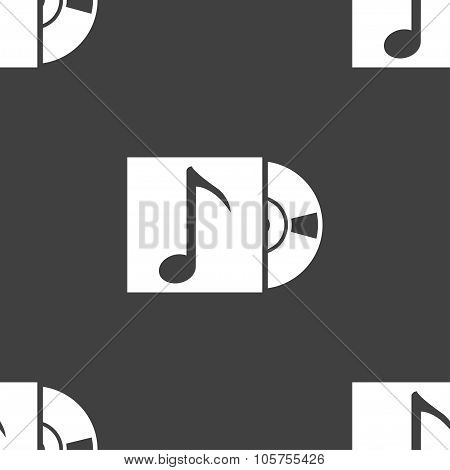 Cd Player Icon Sign. Seamless Pattern On A Gray Background. Vector