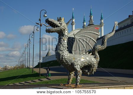 Kazan, Republic Tatarstan, Russia - May, 2014:  Metal Sculpture Of Zilant, The Official Symbol Of Ka