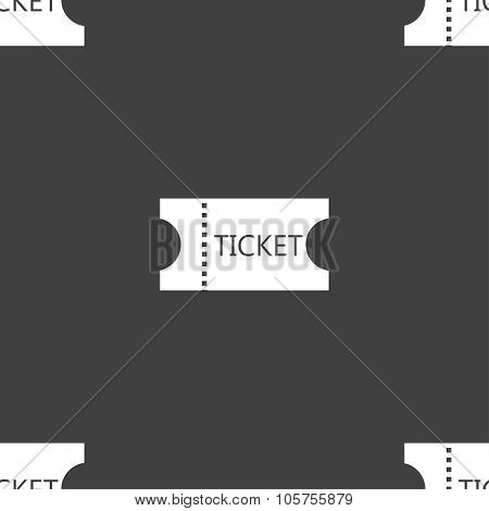 Ticket Icon Sign. Seamless Pattern On A Gray Background. Vector
