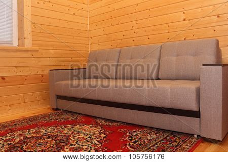 Wooden House Interior - Sofa And Carpet