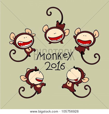 Set of images of funny kids #80, Monkey Zodiac sign