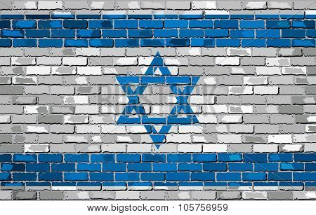 Grunge Flag Of Israel On A Brick Wall.eps