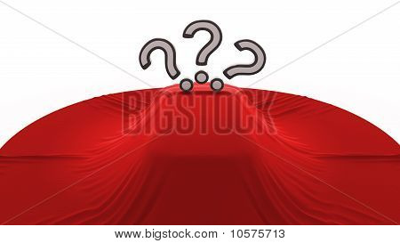 Car Covered With Textile With 3 Question Marks