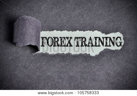 Forex Training Word Under Torn Black Sugar Paper
