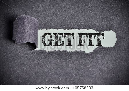 Get Fit Word Under Torn Black Sugar Paper