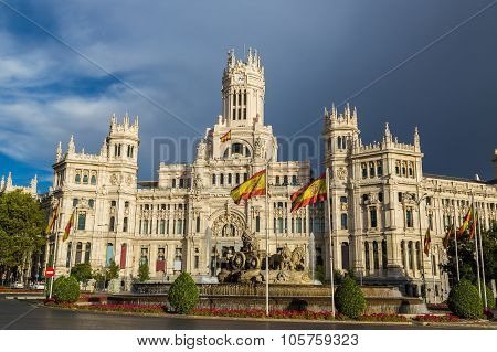 Cibeles Palace And Cibeles Fountain At Plaza De Cibeles In Madrid