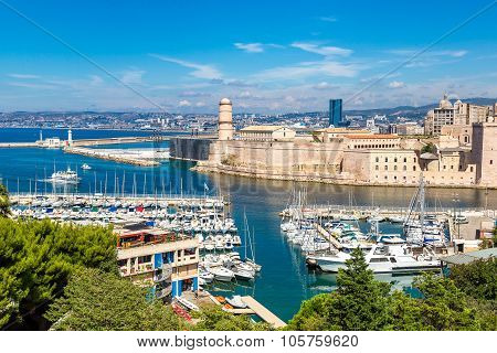 Saint Jean Castle And Cathedral De La Major  In Marseille