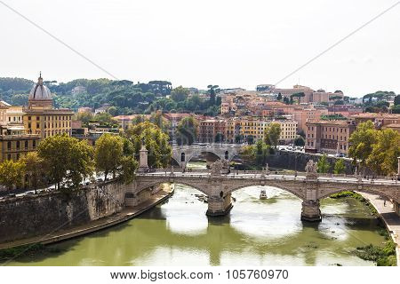 View Above Rome And Tiber  In Rome