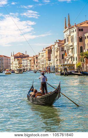 Gondola On Canal Grande In Venice
