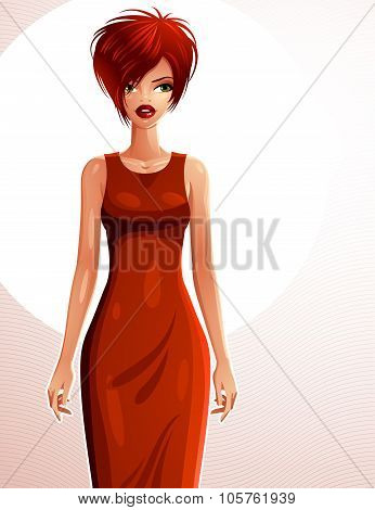 Sexy White-skin Woman Wearing An Elegant Dress, Full Body Portrait. Attractive Lady