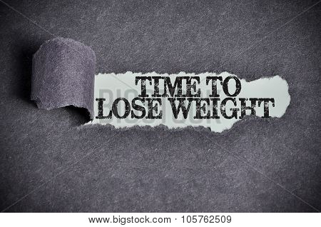 Time To Lose Weight Word Under Torn Black Sugar Paper
