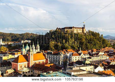 Aerial View Of Ljubljana's Castle