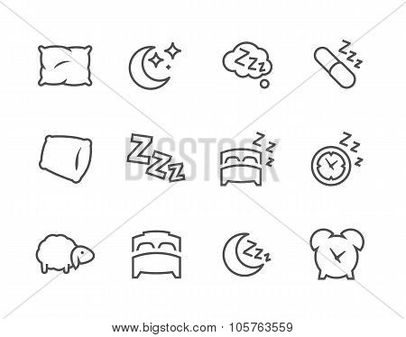 Lined Sleep Well Icons
