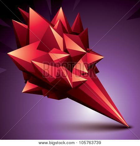 Asymmetric 3D Abstract Object, Red Geometric Spatial Form. Render And Modeling.