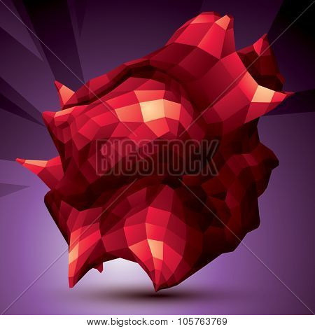 Spatial Vector Bright Digital Object Isolated, 3D Technology Figure With Geometric Elements.