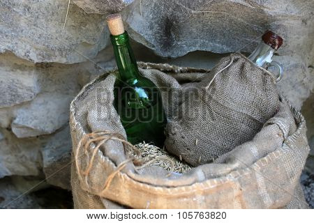 Sack Of Wheat With Bottles