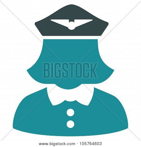 Airline Stewardess Flat Icon