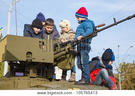 Exhibition Of Military Equipment In Kiev