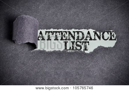 Attendance List Word Under Torn Black Sugar Paper