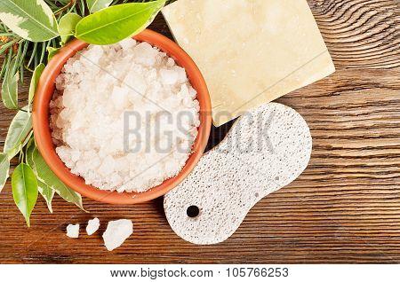 Bath Salt And Pumice Stone