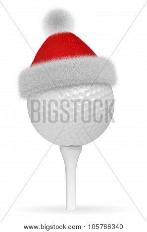 White Golf Ball On Tee In Santa Claus Red Hat