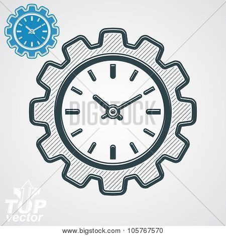 Vector Engineering Component - Cog Wheel, Additional Version Included. Time Management Theme, 3D