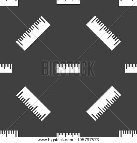 Ruler Sign Icon. School Tool Symbol. Seamless Pattern On A Gray Background. Vector