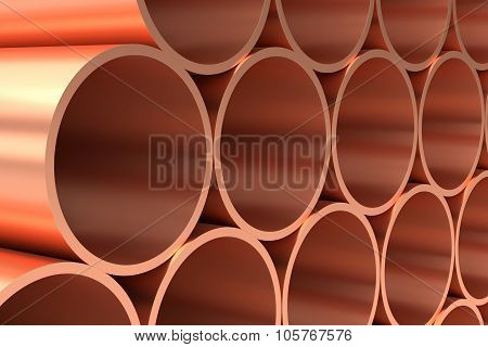 Shiny Copper Pipes In Rows Closeup