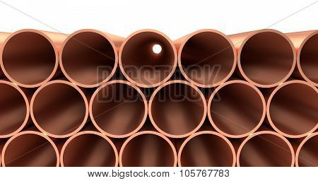 Copper Pipes In Rows Isolated