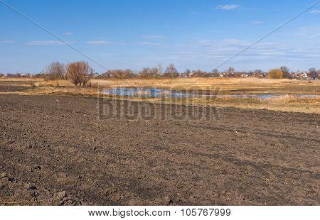 Spring landscape with plough-lands in Poltavsk oblast central UKraine
