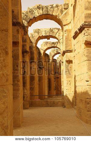 Tunisia, Africa - August 03, 2012: Coliseum In El-jem In Summer Day